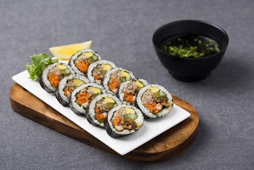 Tasty Japanese Egg Sushi with Miso Soup